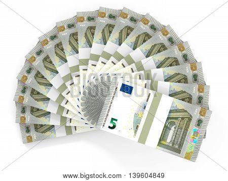 Money fan on white background. Five euros. 3D illustration.