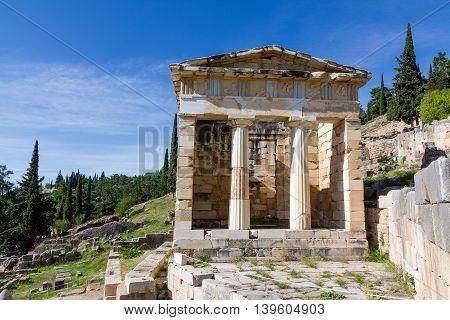 The Athenian treasury in ancient Delphi, Greece