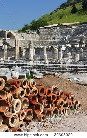 Clay chimney pots found at Ephesus, Turkey