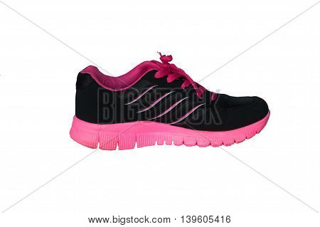 side view of pink sport shoe on white background