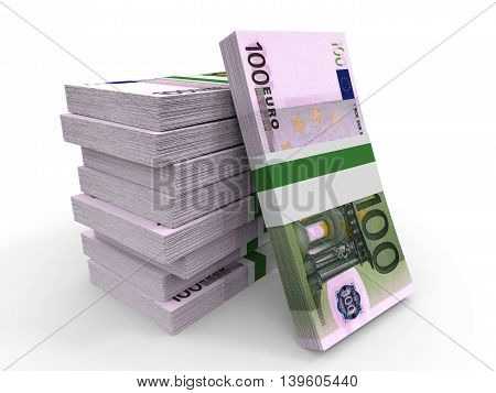 One Hundred Euro Banknotes Background.