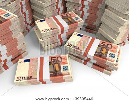 Fifty euro banknotes  on white background. 3D illustration.