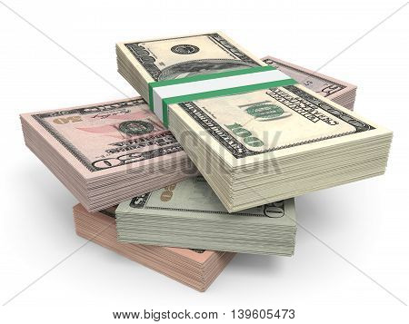 Money Stack. Different Dollar Bank Notes.