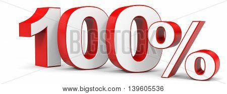 Discount 100 percent on white background. 3D illustration.