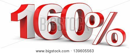 Discount 160 percent on white background. 3D illustration.