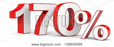 Discount 170 percent on white background. 3D illustration.