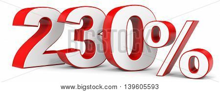 Discount 230 percent on white background. 3D illustration.