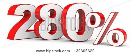Discount 280 percent on white background. 3D illustration.