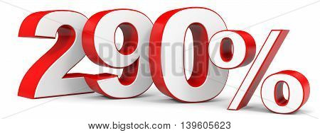 Discount 290 percent on white background. 3D illustration.