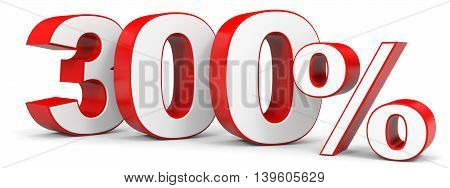 Discount 300 percent on white background. 3D illustration.