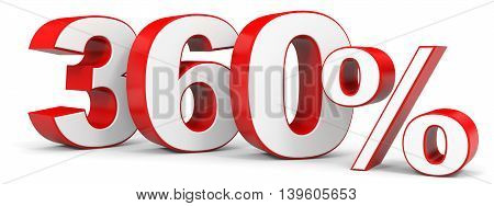 Discount 360 percent on white background. 3D illustration.