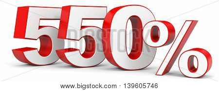 Discount 550 percent on white background. 3D illustration.