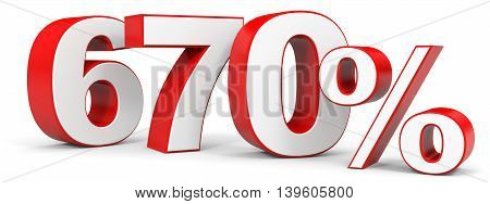 Discount 670 percent on white background. 3D illustration.