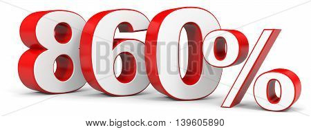 Discount 860 percent on white background. 3D illustration.