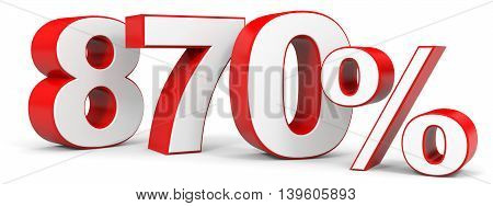 Discount 870 percent on white background. 3D illustration.