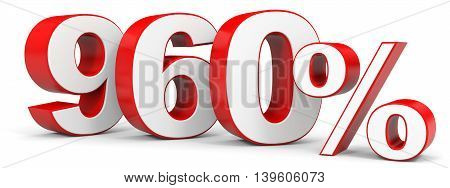 Discount 960 percent on white background. 3D illustration.