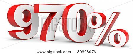 Discount 970 percent on white background. 3D illustration.