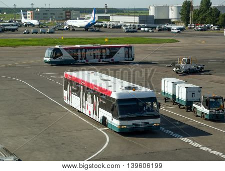 Moscow, Russia - June 01, 2016, Buses for passengers traveling on the airfield of Domodedovo Airport