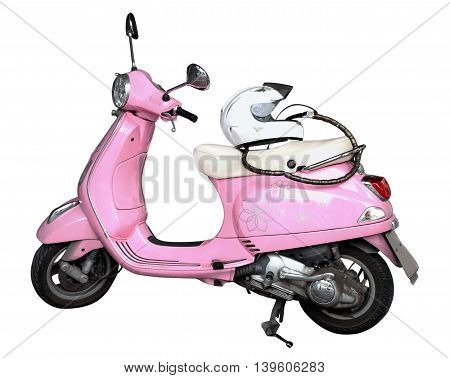 pink motorcycle and helmet isolated on a white background