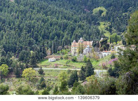 View of Osios David Monastery, Euboea, Greece