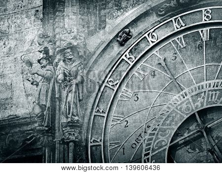 Detail Of The Prague Astronomical Clock , Vintage Image