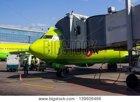 Moscow, Russia - June 01, 2016, S7 Airlines airplane in airlock in airport Domodedovo