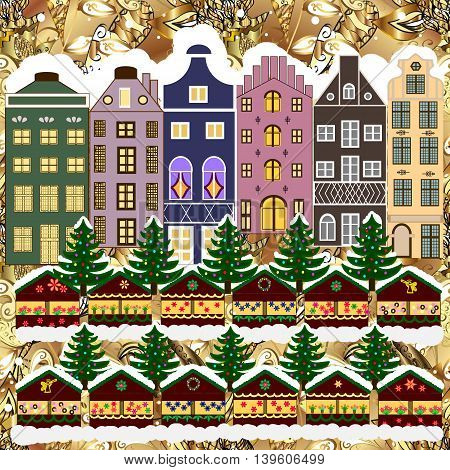 Christmas winter city. Vector xmas card with a decorated snowy old town at Christmas eve.