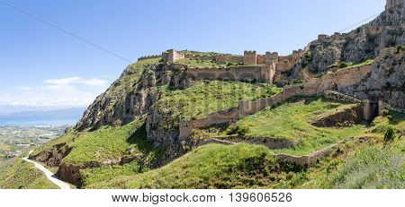 Panorama of the Acrocorinth fortress in Peloponnese, Greece