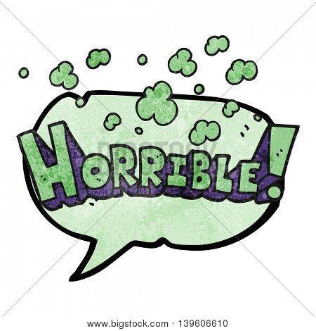 freehand drawn texture speech bubble cartoon word horrible