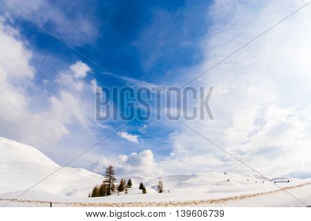 Italy Dolomite mountains Sella pass in snow