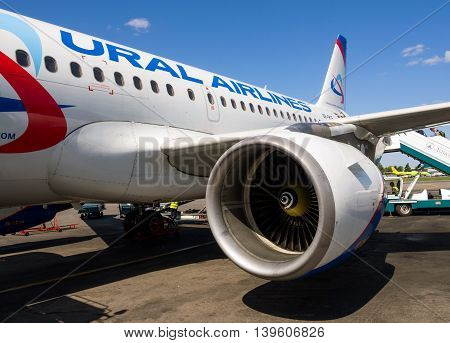 Moscow, Russia - June 01, 2016, Detail A321 aircraft airlines Ural Airlines in airport Domodedovo