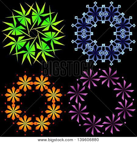Abstract snowflakes. Different multi-colored shapes of snowflakes