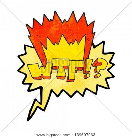 freehand drawn texture speech bubble cartoon WTF symbol