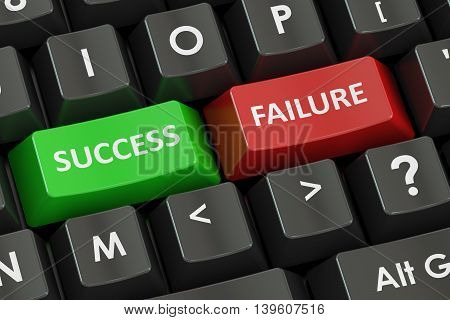 Success and Failure concept on the black keyboard 3D rendering