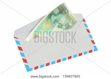 white envelope with 50 shekels 3D rendering isolated on white background