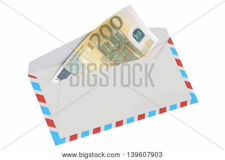 white envelope with 200 euro 3D rendering isolated on white background