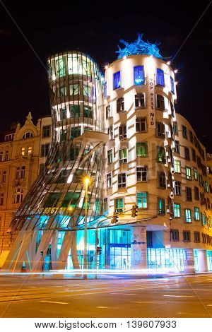 PRAGUE - SEPTEMBER 18 2014: The Dancing House designed by Vlado Milunic and Frank Gehry in Prague Czech Republic. The building was designed in 1992 and completed in 1996.