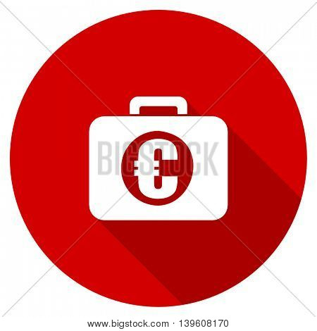financial red vector icon, circle flat design internet button, web and mobile app illustration