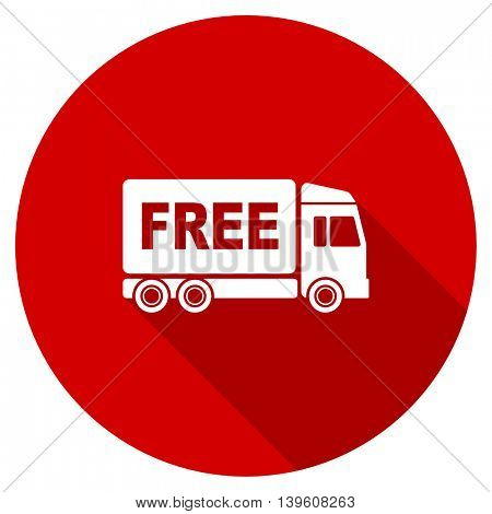 free delivery red vector icon, circle flat design internet button, web and mobile app illustration
