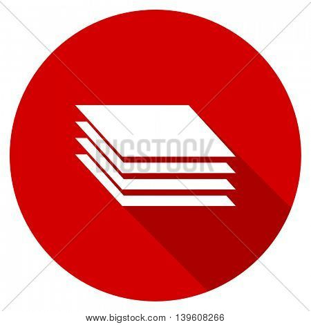 layers red vector icon, circle flat design internet button, web and mobile app illustration