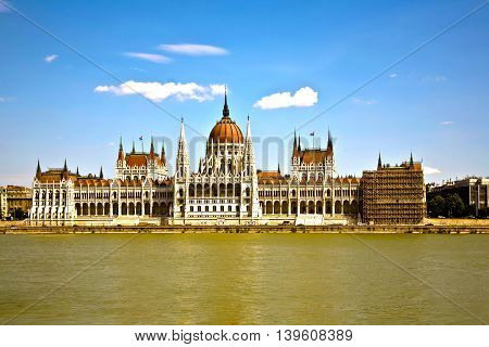 famous parliament of Hungary in Budapest view over river danubia