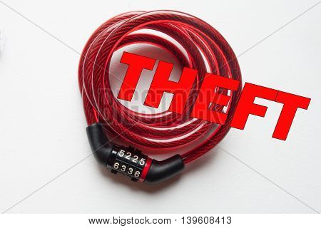 Theft text on top of red lock. White background