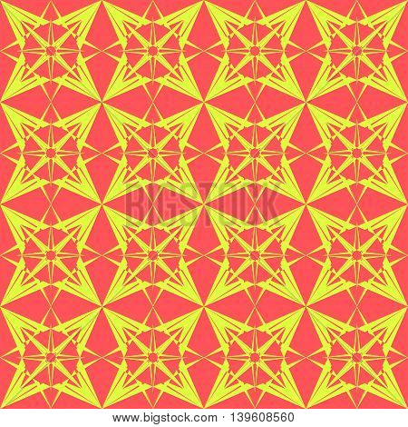 The star of the crystal. Yellow star on a red background for a pattern or background