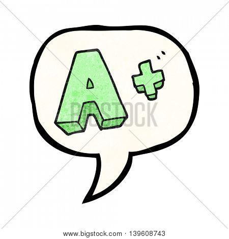freehand speech bubble textured cartoon A grade symbol