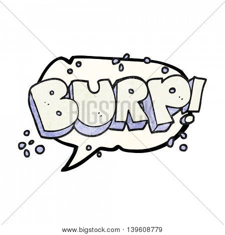 freehand speech bubble textured cartoon burp text