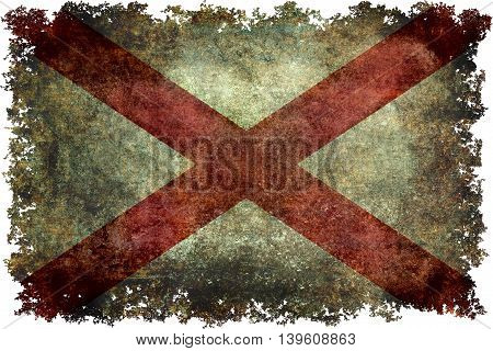 State flag of Alabama with grungy distressed textures and edges