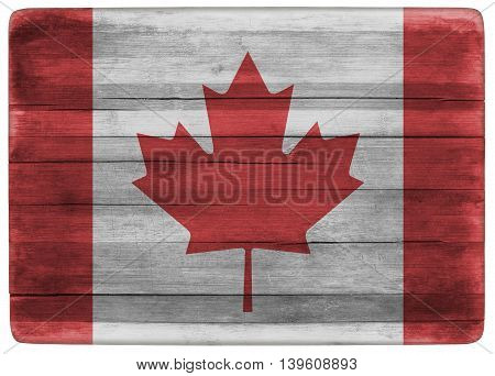 horizontal front view 3d illustration of an Canada flag on wooden cooking textured board