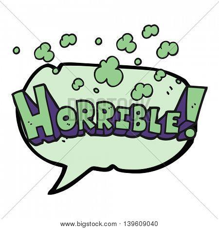 freehand drawn speech bubble cartoon word horrible