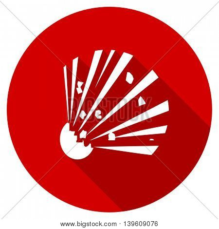 bomb red vector icon, circle flat design internet button, web and mobile app illustration