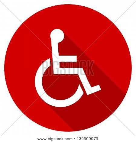 wheelchair red vector icon, circle flat design internet button, web and mobile app illustration